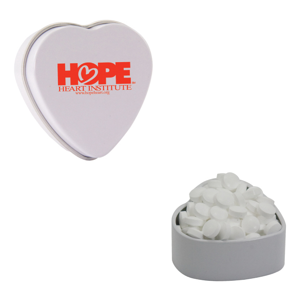 Printed White Heart Tin with Sugar-Free Mints