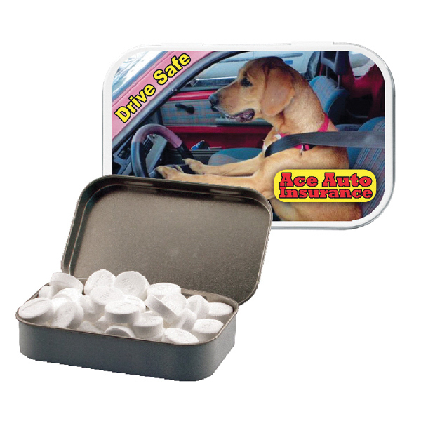 Personalized White Large Tin with Dog Mints - Breath Fresheners