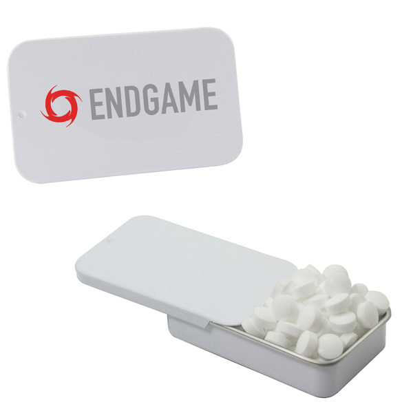 Promotional White Slider Tin with Sugar-Free Mints