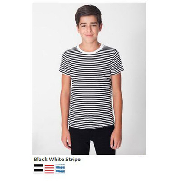 Promotional Youth Poly-Cotton Striped S/S Crew Neck T-Shirt