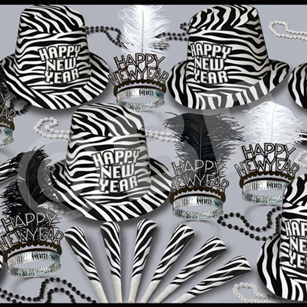 Custom Zebra Print New Year's Eve Party Kit for 50